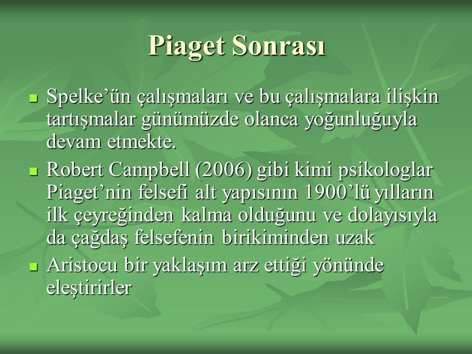 Piaget Sonrası Spelke'ün çalışmaları ve bu çalışmalara ilişkin tartışmalar günümüzde olanca yoğunluğuyla devam etmekte. Spelke'ün çalışmaları ve bu ça
