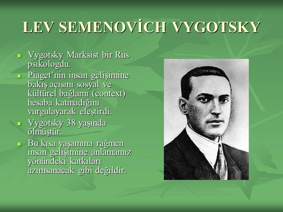LEV SEMENOVİCH VYGOTSKY Vygotsky Marksist bir Rus psikologdu. Vygotsky Marksist bir Rus psikologdu. Piaget'nin insan gelişimine bakış açısını sosyal v