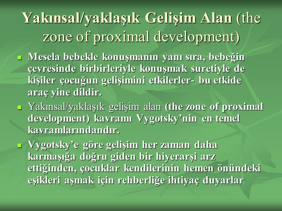 Yakınsal/yaklaşık Gelişim Alan (the zone of proximal development) Mesela bebekle konuşmanın yanı sıra, bebeğin çevresinde birbirleriyle konuşmak suretiyle de kişiler çocuğun gelişimini etkilerler- bu etkide araç yine dildir.