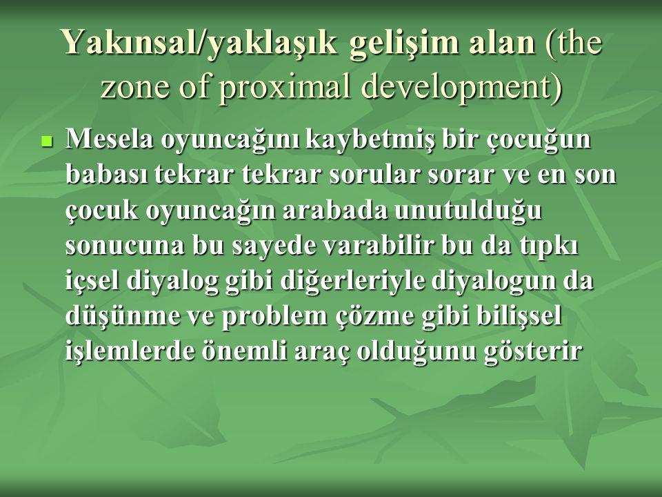 Yakınsal/yaklaşık gelişim alan (the zone of proximal development) Mesela oyuncağını kaybetmiş bir çocuğun babası tekrar tekrar sorular sorar ve en son