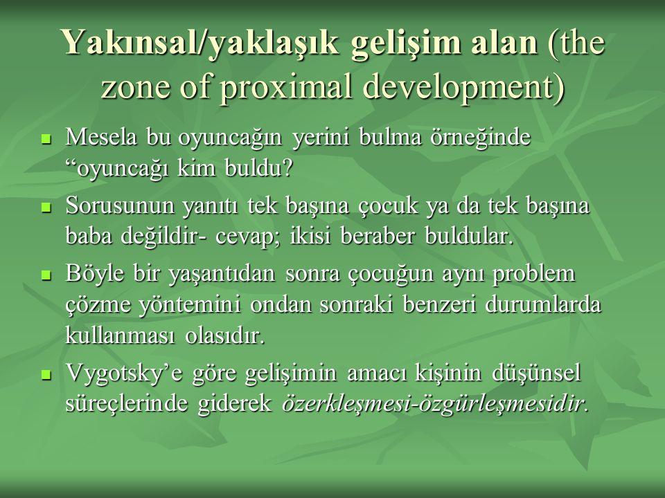 """Yakınsal/yaklaşık gelişim alan (the zone of proximal development) Mesela bu oyuncağın yerini bulma örneğinde """"oyuncağı kim buldu? Mesela bu oyuncağın"""