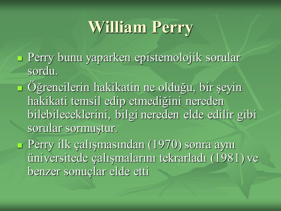 William Perry Perry bunu yaparken epistemolojik sorular sordu. Perry bunu yaparken epistemolojik sorular sordu. Öğrencilerin hakikatin ne olduğu, bir