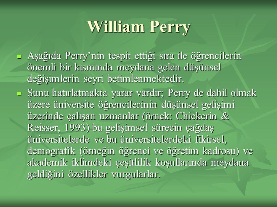 William Perry Aşağıda Perry'nin tespit ettiği sıra ile öğrencilerin önemli bir kısmında meydana gelen düşünsel değişimlerin seyri betimlenmektedir. Aş