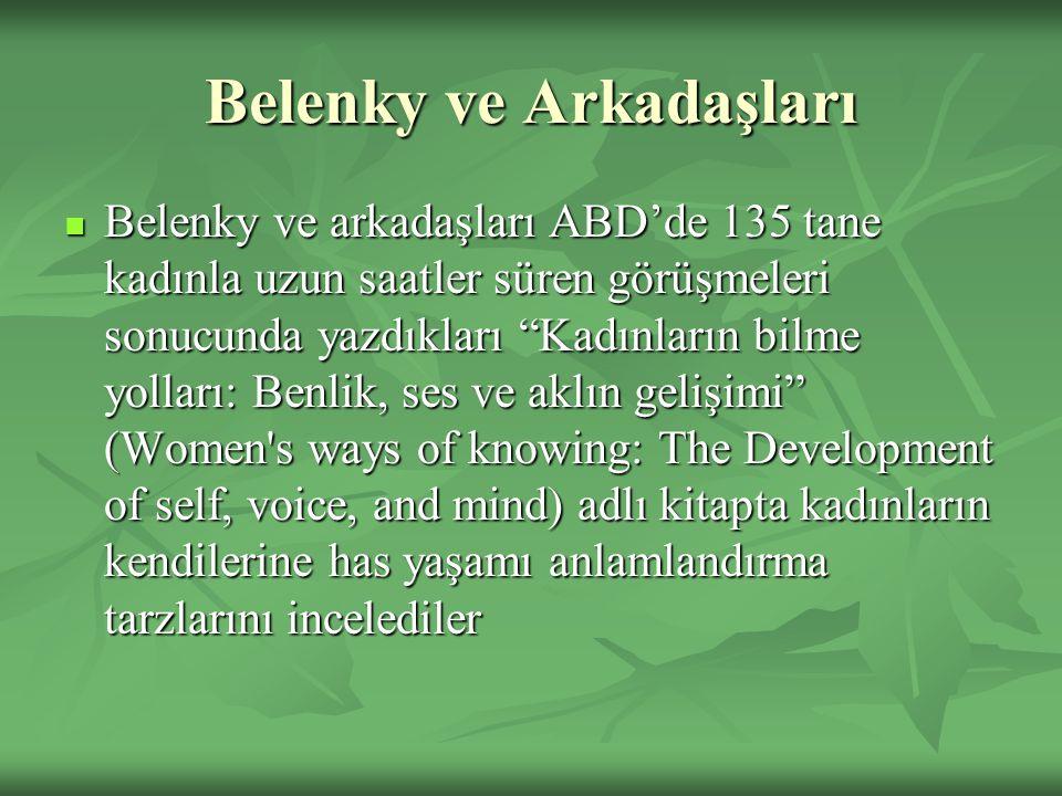 """Belenky ve Arkadaşları Belenky ve arkadaşları ABD'de 135 tane kadınla uzun saatler süren görüşmeleri sonucunda yazdıkları """"Kadınların bilme yolları: B"""