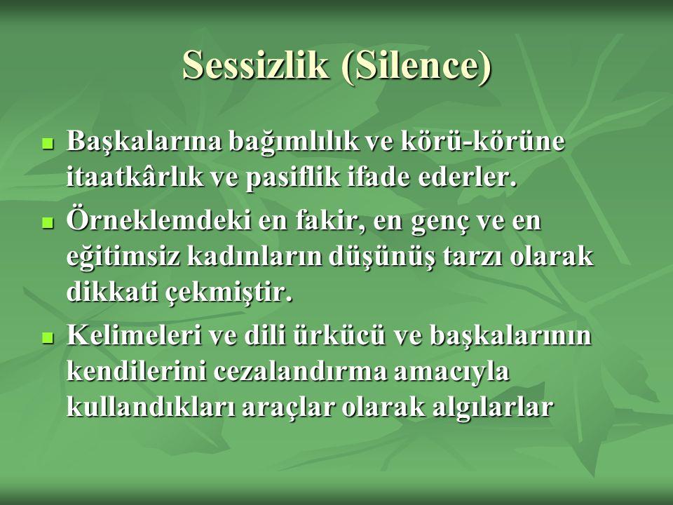 Sessizlik (Silence) Başkalarına bağımlılık ve körü-körüne itaatkârlık ve pasiflik ifade ederler. Başkalarına bağımlılık ve körü-körüne itaatkârlık ve