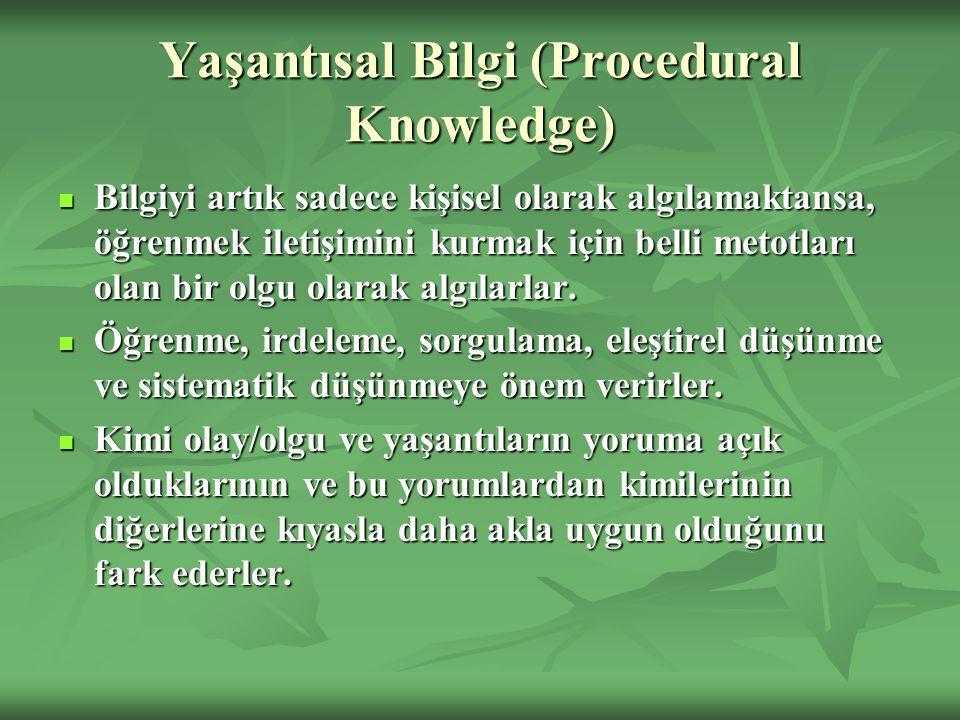 Yaşantısal Bilgi (Procedural Knowledge) Bilgiyi artık sadece kişisel olarak algılamaktansa, öğrenmek iletişimini kurmak için belli metotları olan bir olgu olarak algılarlar.