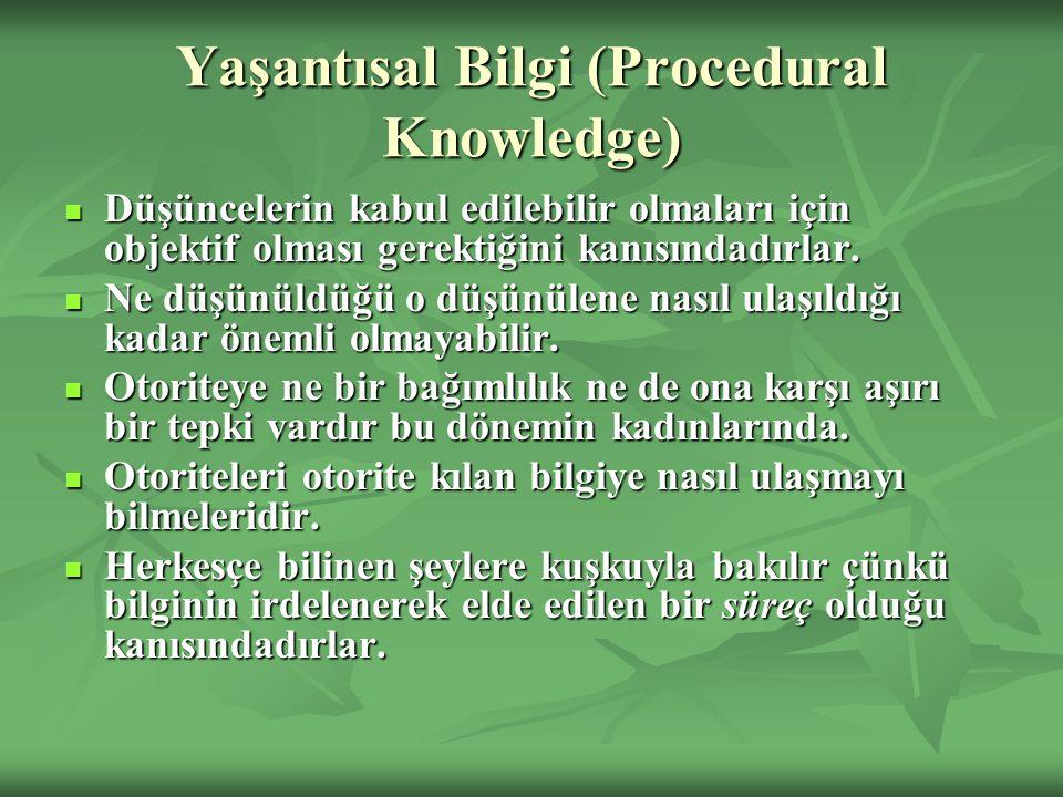 Yaşantısal Bilgi (Procedural Knowledge) Düşüncelerin kabul edilebilir olmaları için objektif olması gerektiğini kanısındadırlar. Düşüncelerin kabul ed