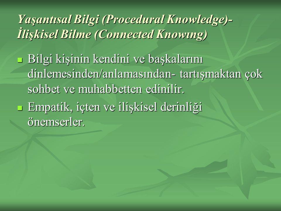 Yaşantısal Bilgi (Procedural Knowledge)- İlişkisel Bilme (Connected Knowıng) Bilgi kişinin kendini ve başkalarını dinlemesinden/anlamasından- tartışmaktan çok sohbet ve muhabbetten edinilir.