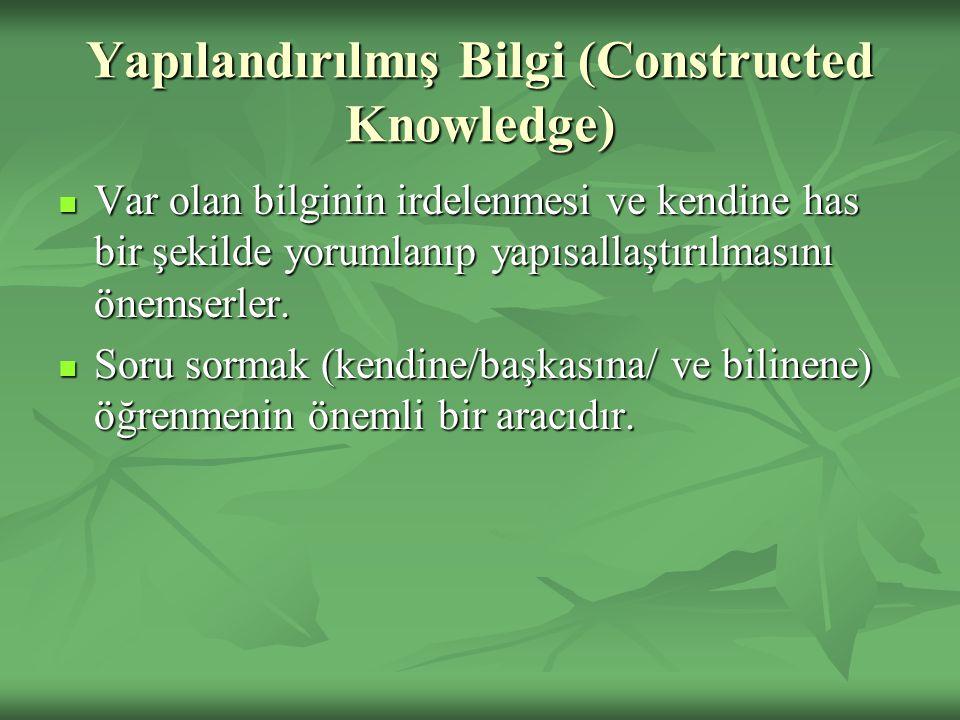 Yapılandırılmış Bilgi (Constructed Knowledge) Var olan bilginin irdelenmesi ve kendine has bir şekilde yorumlanıp yapısallaştırılmasını önemserler.