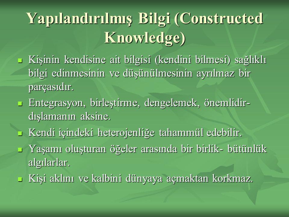 Yapılandırılmış Bilgi (Constructed Knowledge) Kişinin kendisine ait bilgisi (kendini bilmesi) sağlıklı bilgi edinmesinin ve düşünülmesinin ayrılmaz bi