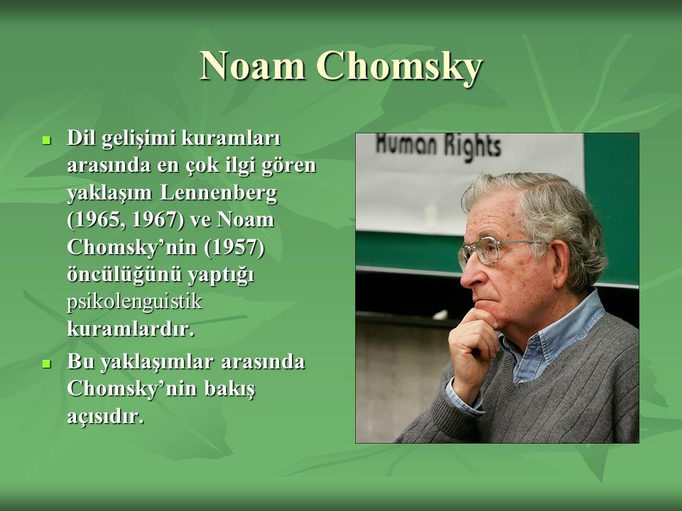 Noam Chomsky Dil gelişimi kuramları arasında en çok ilgi gören yaklaşım Lennenberg (1965, 1967) ve Noam Chomsky'nin (1957) öncülüğünü yaptığı psikolenguistik kuramlardır.