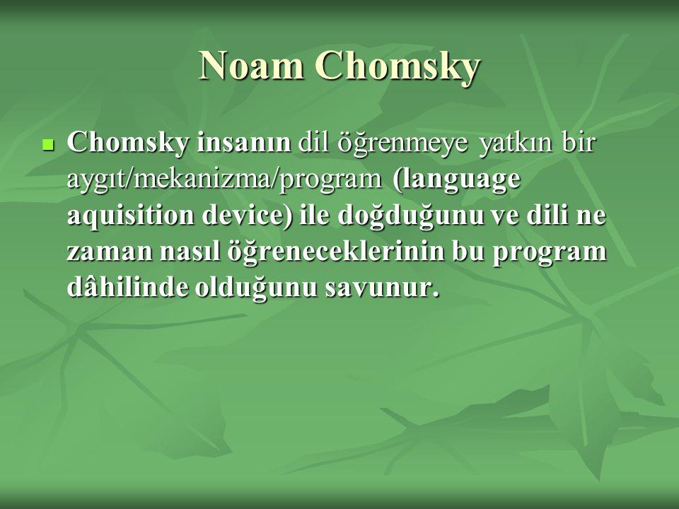 Noam Chomsky Chomsky insanın dil öğrenmeye yatkın bir aygıt/mekanizma/program (language aquisition device) ile doğduğunu ve dili ne zaman nasıl öğrene