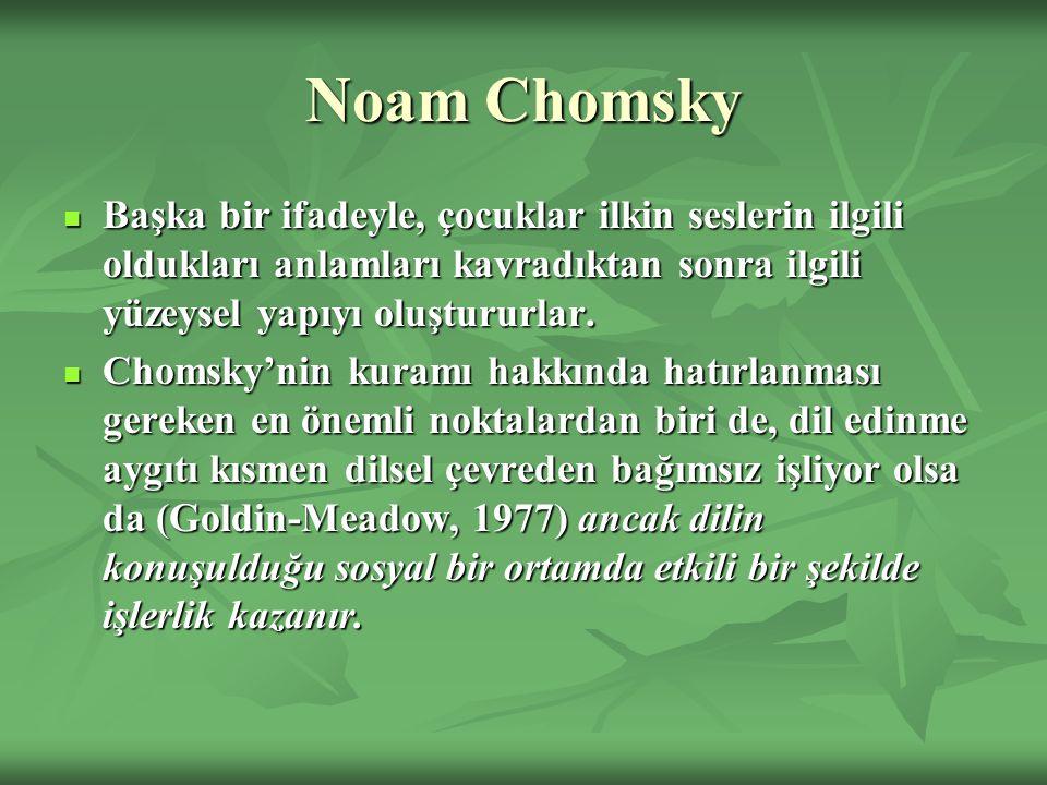 Noam Chomsky Başka bir ifadeyle, çocuklar ilkin seslerin ilgili oldukları anlamları kavradıktan sonra ilgili yüzeysel yapıyı oluştururlar. Başka bir i