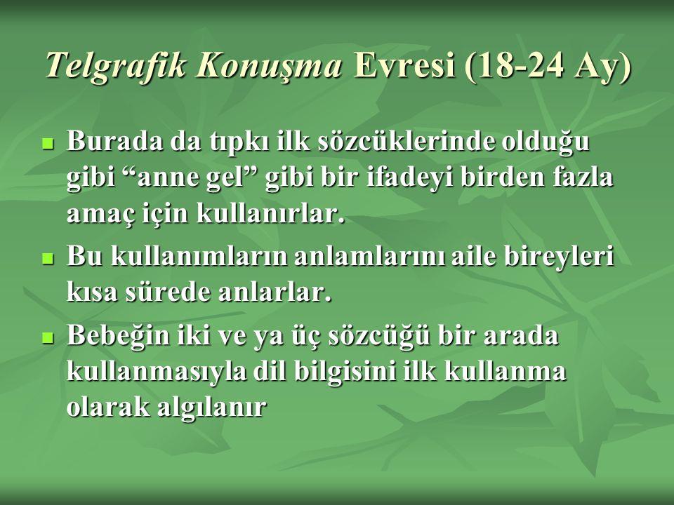 Telgrafik Konuşma Evresi (18-24 Ay) Burada da tıpkı ilk sözcüklerinde olduğu gibi anne gel gibi bir ifadeyi birden fazla amaç için kullanırlar.