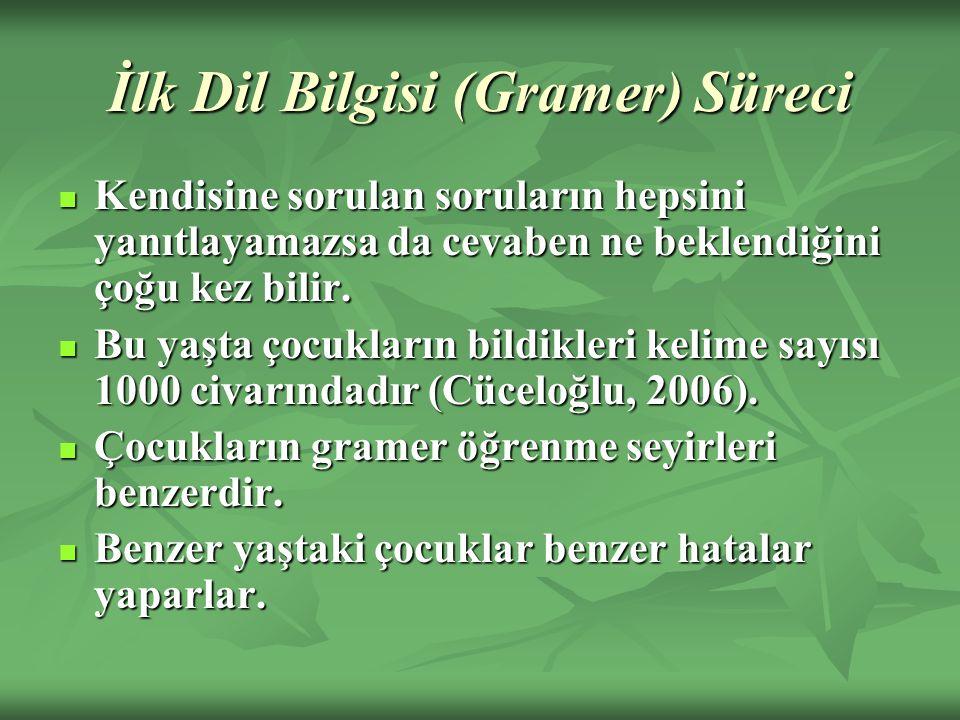 İlk Dil Bilgisi (Gramer) Süreci Kendisine sorulan soruların hepsini yanıtlayamazsa da cevaben ne beklendiğini çoğu kez bilir. Kendisine sorulan sorula