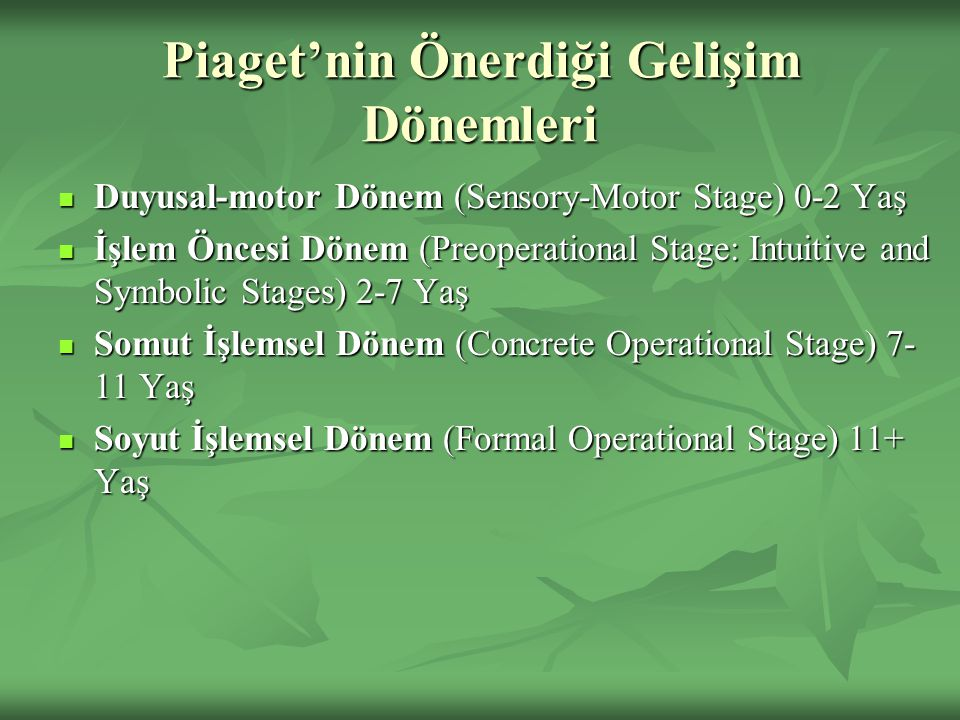 Piaget'nin Önerdiği Gelişim Dönemleri Duyusal-motor Dönem (Sensory-Motor Stage) 0-2 Yaş Duyusal-motor Dönem (Sensory-Motor Stage) 0-2 Yaş İşlem Öncesi Dönem (Preoperational Stage: Intuitive and Symbolic Stages) 2-7 Yaş İşlem Öncesi Dönem (Preoperational Stage: Intuitive and Symbolic Stages) 2-7 Yaş Somut İşlemsel Dönem (Concrete Operational Stage) 7- 11 Yaş Somut İşlemsel Dönem (Concrete Operational Stage) 7- 11 Yaş Soyut İşlemsel Dönem (Formal Operational Stage) 11+ Yaş Soyut İşlemsel Dönem (Formal Operational Stage) 11+ Yaş