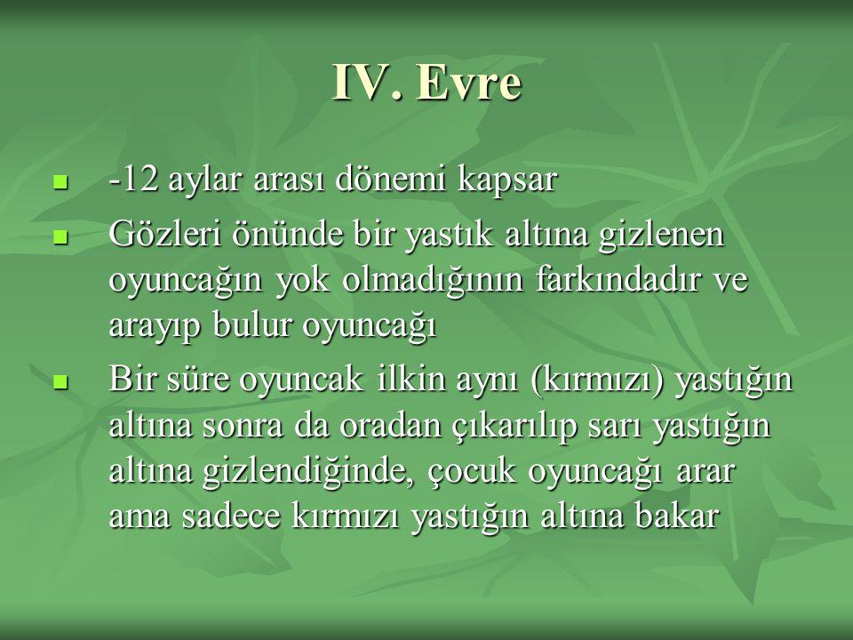 IV. Evre -12 aylar arası dönemi kapsar -12 aylar arası dönemi kapsar Gözleri önünde bir yastık altına gizlenen oyuncağın yok olmadığının farkındadır v