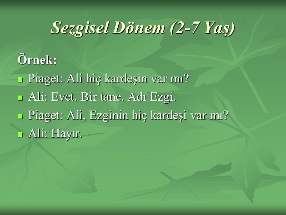 Sezgisel Dönem (2-7 Yaş) Örnek: Piaget: Ali hiç kardeşin var mı? Piaget: Ali hiç kardeşin var mı? Ali: Evet. Bir tane. Adı Ezgi. Ali: Evet. Bir tane.