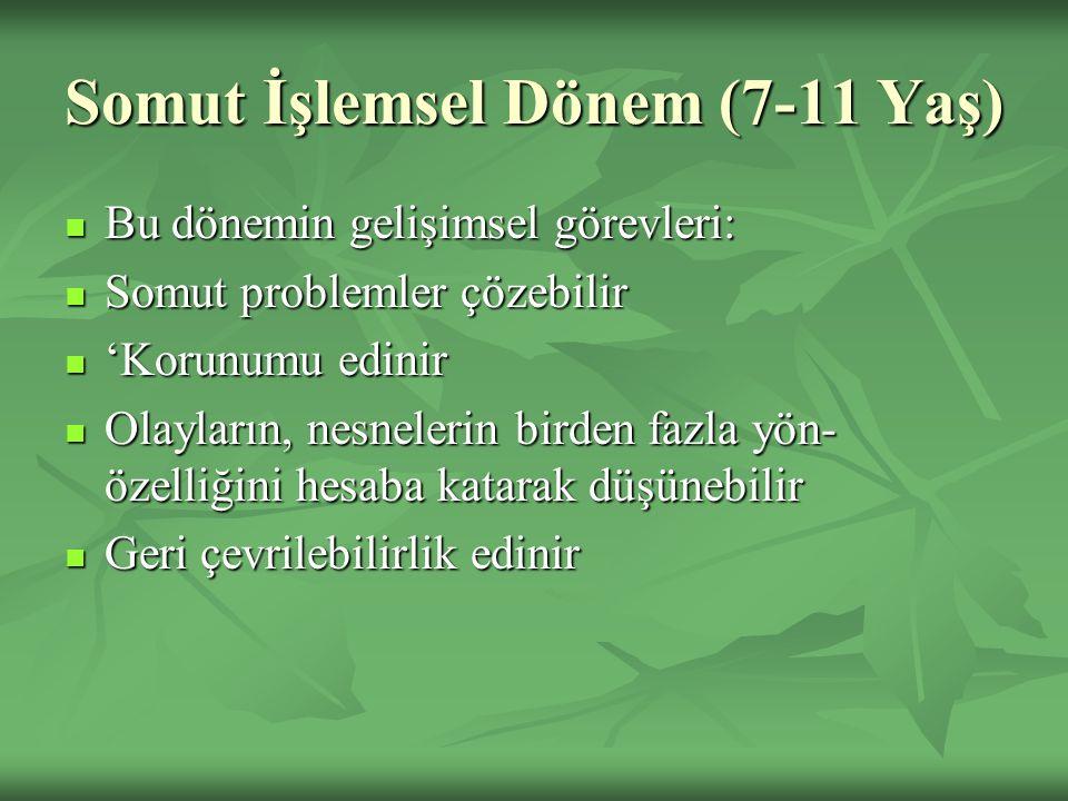 Somut İşlemsel Dönem (7-11 Yaş) Bu dönemin gelişimsel görevleri: Bu dönemin gelişimsel görevleri: Somut problemler çözebilir Somut problemler çözebili