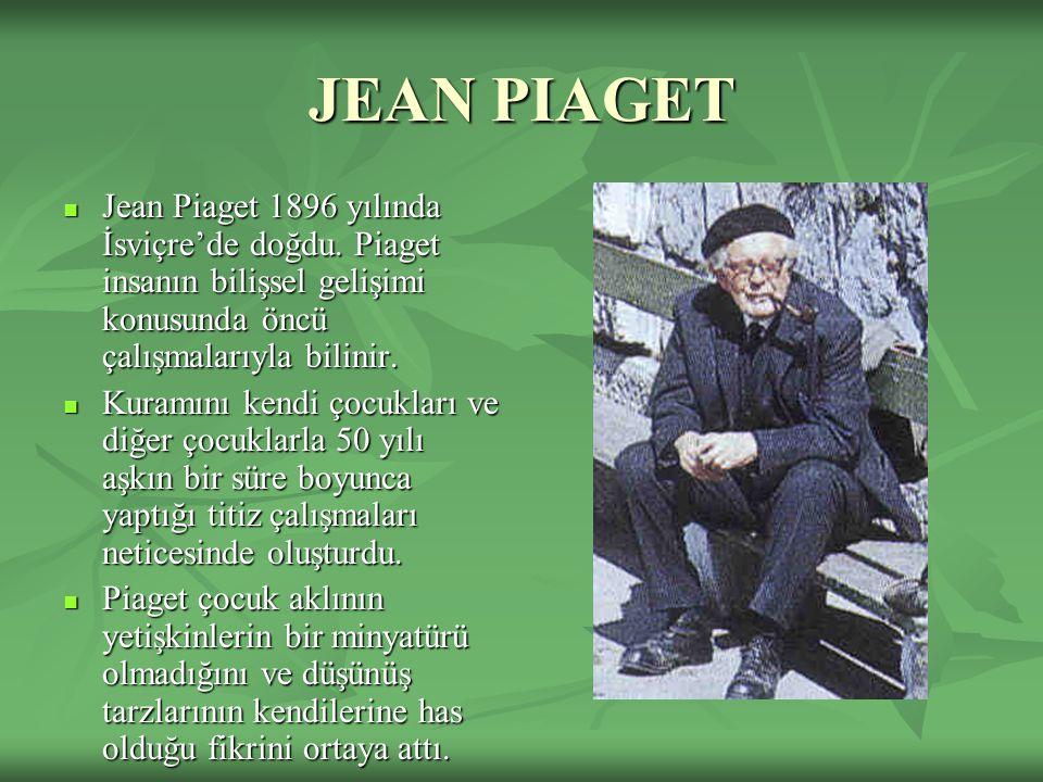 JEAN PIAGET Jean Piaget 1896 yılında İsviçre'de doğdu. Piaget insanın bilişsel gelişimi konusunda öncü çalışmalarıyla bilinir. Jean Piaget 1896 yılınd