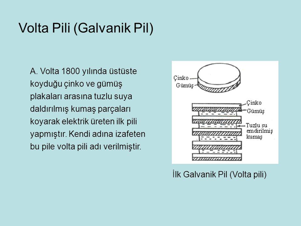 A. Volta 1800 yılında üstüste koyduğu çinko ve gümüş plakaları arasına tuzlu suya daldırılmış kumaş parçaları koyarak elektrik üreten ilk pili yapmışt