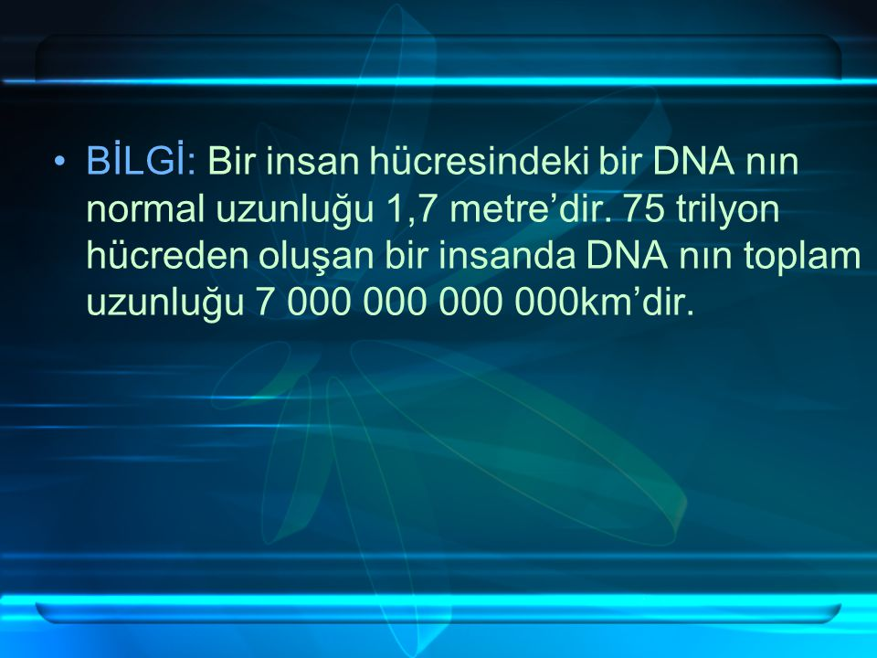 DNA'NIN GÖREVLERİ: Kalıtsal karakterlerin oluşmasını sağlama Hücredeki canlılık olanlarını yönetme Kalıtsal karakterlerin oğul döllere aktarılmasını s
