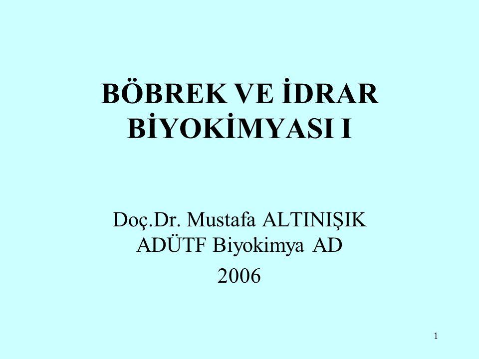 1 BÖBREK VE İDRAR BİYOKİMYASI I Doç.Dr. Mustafa ALTINIŞIK ADÜTF Biyokimya AD 2006