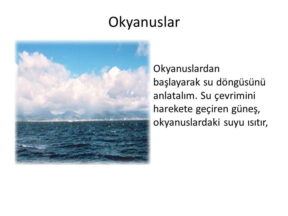 1.Okyanuslar 2.Buharlaşma 3.Yoğunlaşma 4.Yağış 5.Kar, buz ve yeraltında su olarak depolanması 6.Akarsu olarak okyanuslara akması