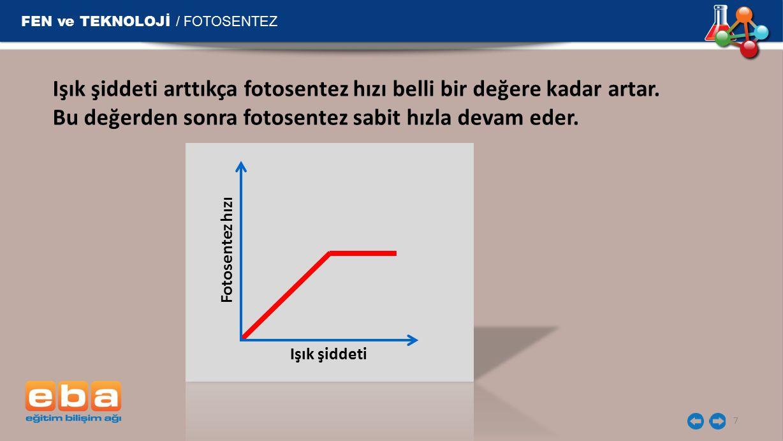 FEN ve TEKNOLOJİ / FOTOSENTEZ 7 Işık şiddeti arttıkça fotosentez hızı belli bir değere kadar artar.