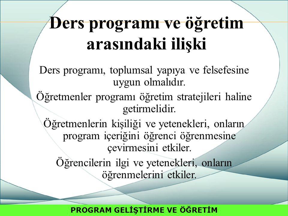 Ders programı ve öğretim arasındaki ilişki Ders programı, toplumsal yapıya ve felsefesine uygun olmalıdır.