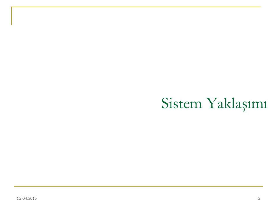 13 Sistem yaklaşımı ile ilgili temel kavram ve özellikler Sistem ve alt sistemler Kapalı ve açık sistemler Her sistem bir çevrede faaliyet gösterir Sistemin sınırları Entropi-Negatif entropi (Negentropi) Değişkenler ve parametreler Dengeli durum ve dinamik denge Girdi-çıktı ve geri besleme Değişik girdi-çıktı ilişkisi 15.04.2015