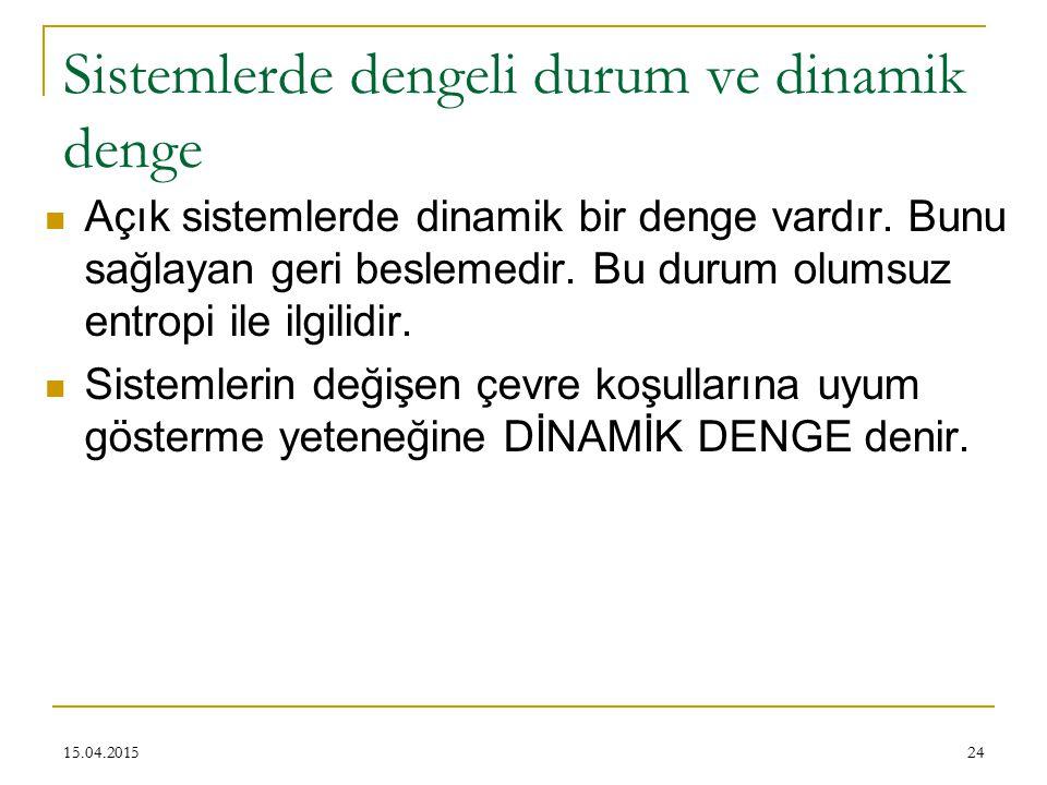 24 Sistemlerde dengeli durum ve dinamik denge Açık sistemlerde dinamik bir denge vardır.