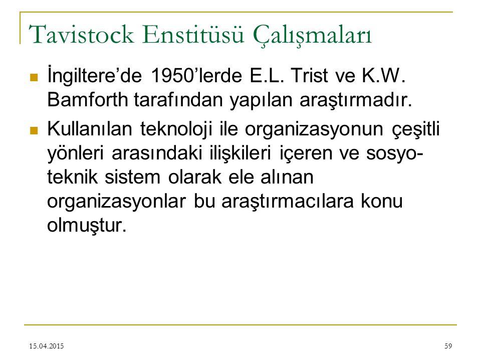 Tavistock Enstitüsü Çalışmaları İngiltere'de 1950'lerde E.L.