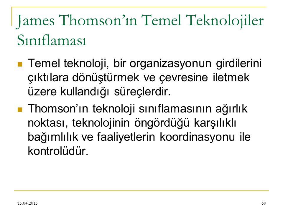 James Thomson'ın Temel Teknolojiler Sınıflaması Temel teknoloji, bir organizasyonun girdilerini çıktılara dönüştürmek ve çevresine iletmek üzere kullandığı süreçlerdir.