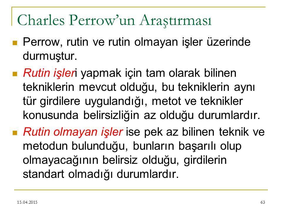 63 Charles Perrow'un Araştırması Perrow, rutin ve rutin olmayan işler üzerinde durmuştur.
