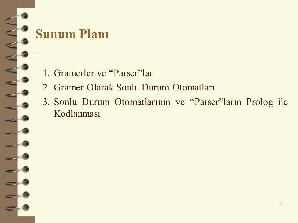 """Sunum Planı 2 1.Gramerler ve """"Parser""""lar 2.Gramer Olarak Sonlu Durum Otomatları 3.Sonlu Durum Otomatlarının ve """"Parser""""ların Prolog ile Kodlanması"""