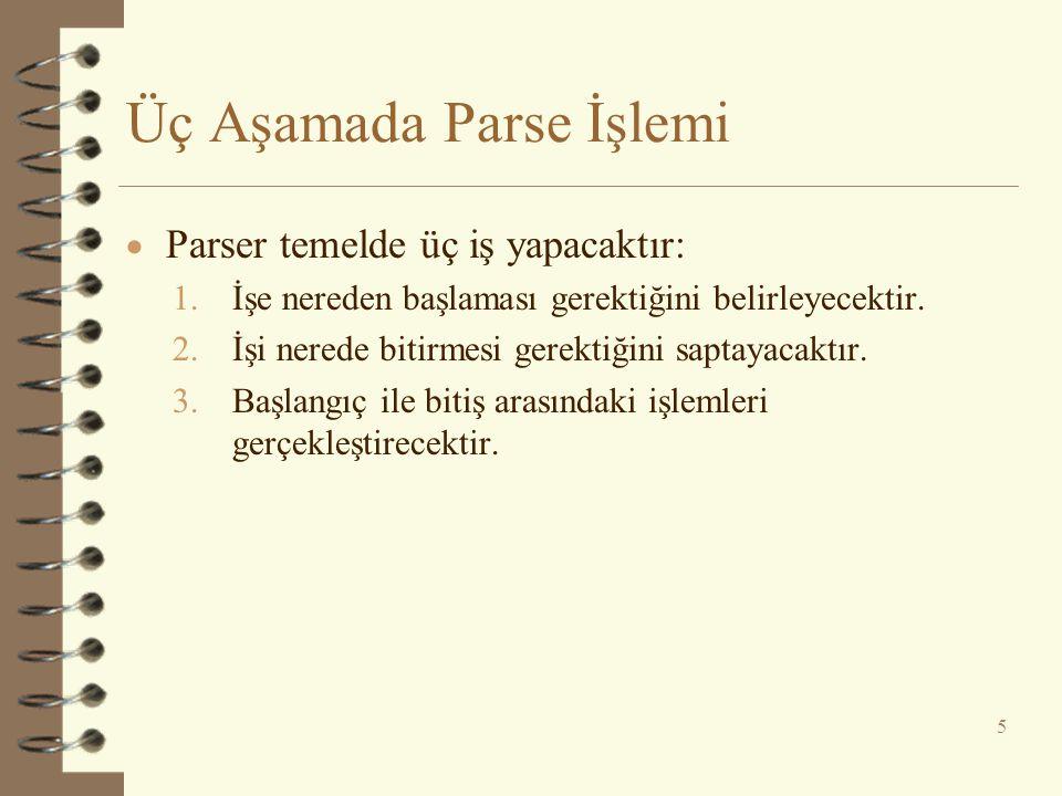 Üç Aşamada Parse İşlemi  Parser temelde üç iş yapacaktır: 1.İşe nereden başlaması gerektiğini belirleyecektir. 2.İşi nerede bitirmesi gerektiğini sap