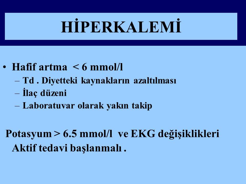 HİPERKALEMİ Hafif artma < 6 mmol/l –Td.