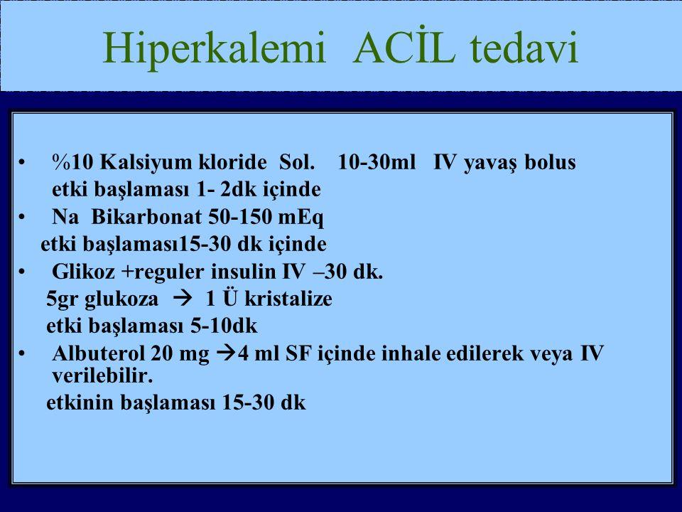 Hiperkalemi ACİL tedavi %10 Kalsiyum kloride Sol.