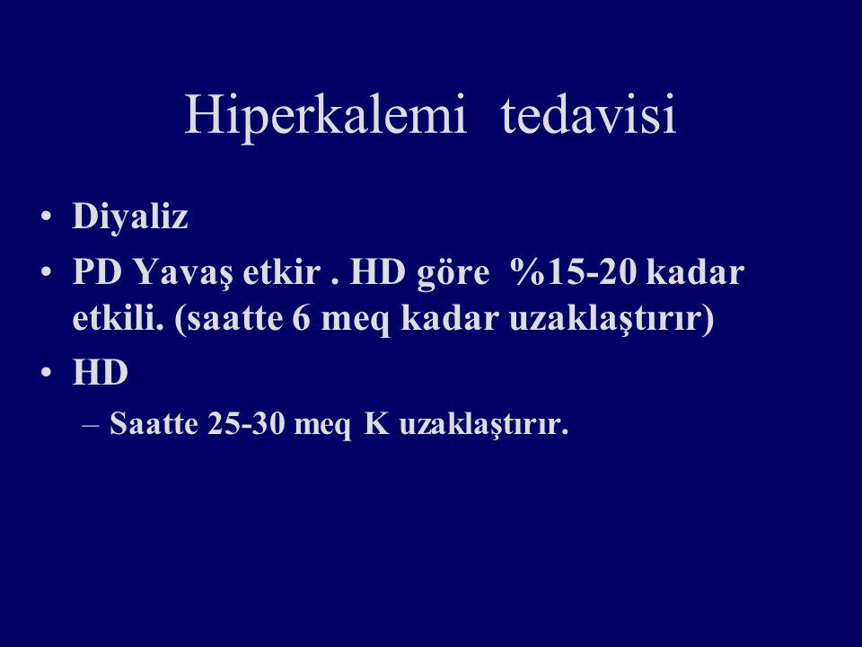 Hiperkalemi tedavisi Diyaliz PD Yavaş etkir.HD göre %15-20 kadar etkili.