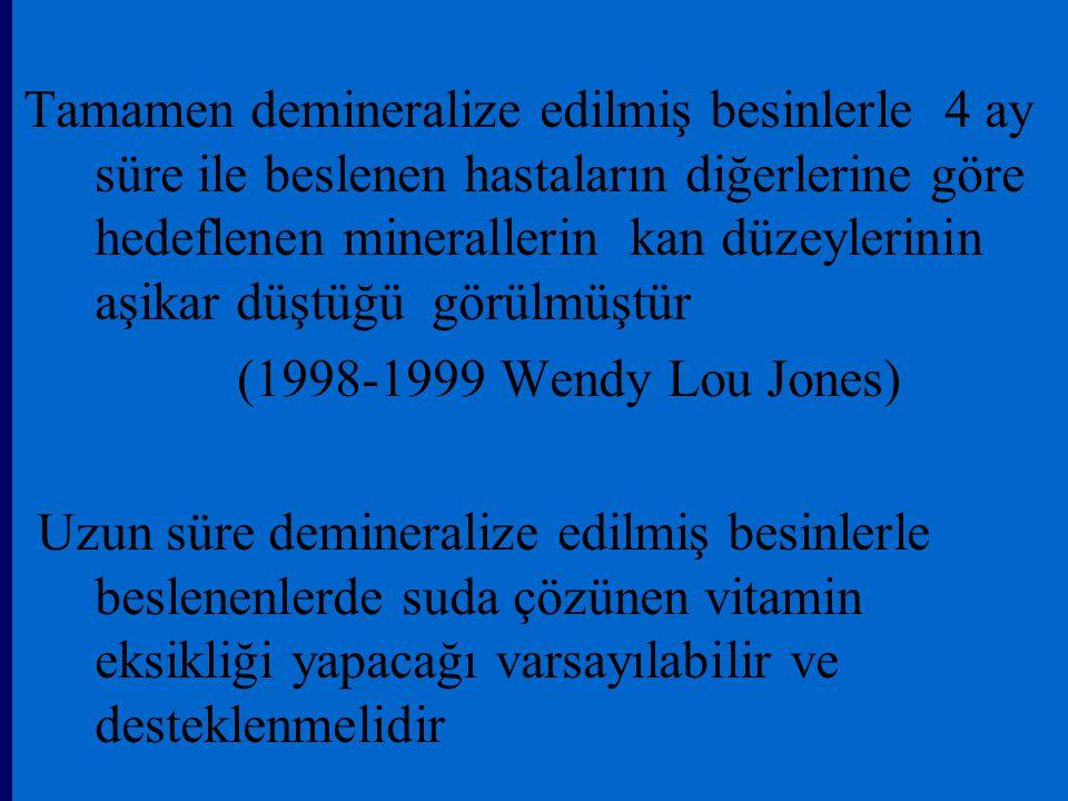 Tamamen demineralize edilmiş besinlerle 4 ay süre ile beslenen hastaların diğerlerine göre hedeflenen minerallerin kan düzeylerinin aşikar düştüğü görülmüştür (1998-1999 Wendy Lou Jones) Uzun süre demineralize edilmiş besinlerle beslenenlerde suda çözünen vitamin eksikliği yapacağı varsayılabilir ve desteklenmelidir