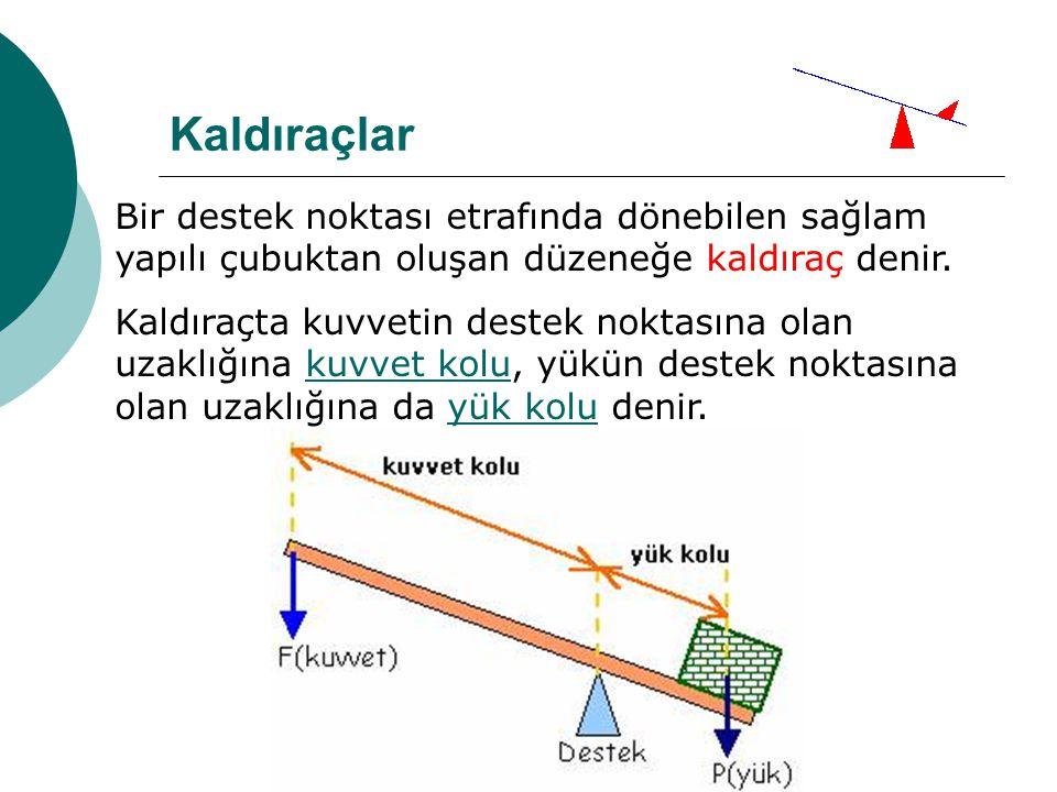 Bir destek noktası etrafında dönebilen sağlam yapılı çubuktan oluşan düzeneğe kaldıraç denir.