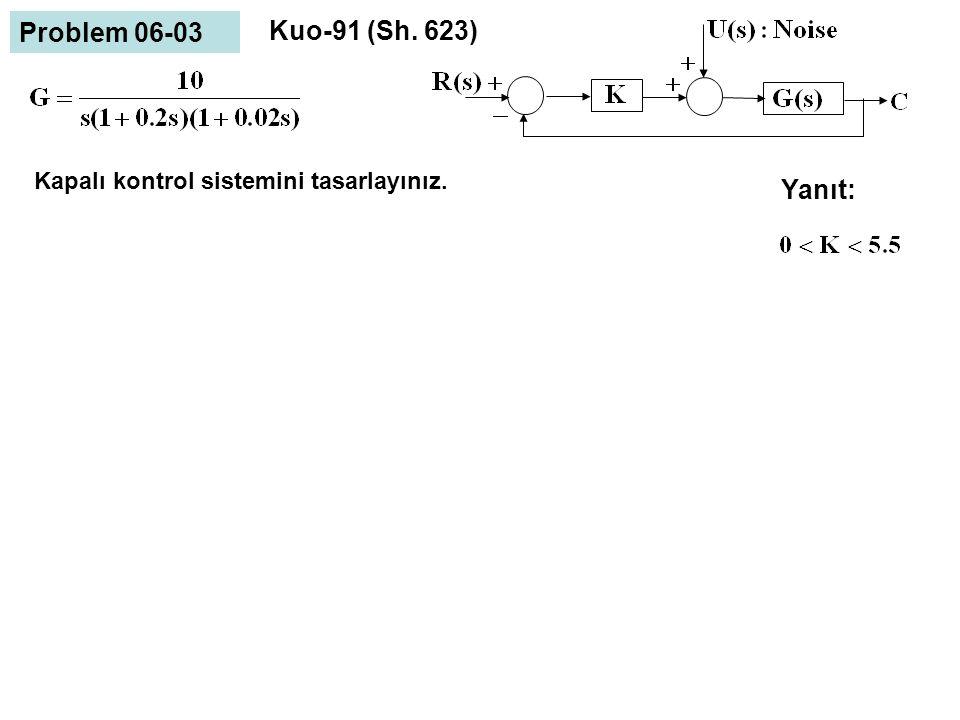 Problem 06-03 Kuo-91 (Sh. 623) Yanıt: Kapalı kontrol sistemini tasarlayınız.