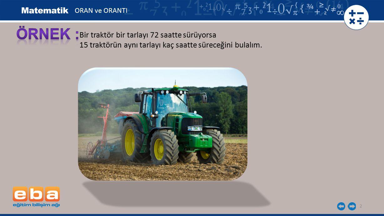 2 Bir traktör bir tarlayı 72 saatte sürüyorsa 15 traktörün aynı tarlayı kaç saatte süreceğini bulalım. ORAN ve ORANTI