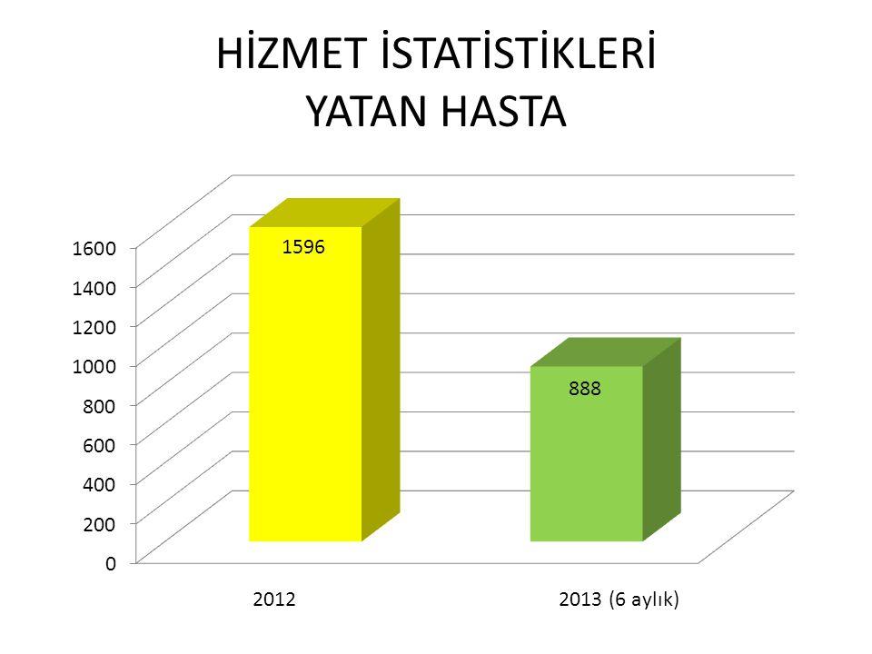 HİZMET İSTATİSTİKLERİ YATAN HASTA 2012 2013 (6 aylık)