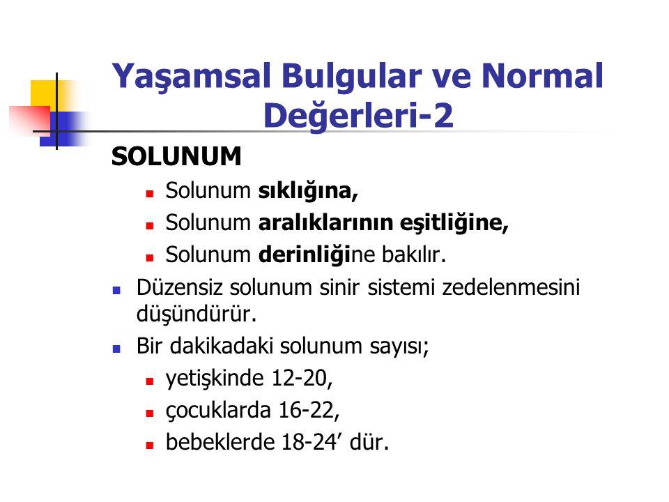 SOLUNUM Solunum sıklığına, Solunum aralıklarının eşitliğine, Solunum derinliğine bakılır.
