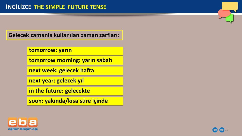 10 Gelecek zamanla kullanılan zaman zarfları: İNGİLİZCE THE SIMPLE FUTURE TENSE tomorrow: yarın tomorrow morning: yarın sabah next week: gelecek hafta next year: gelecek yıl in the future: gelecekte soon: yakında/kısa süre içinde