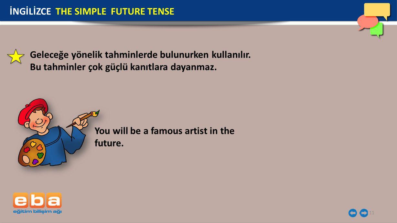 11 You will be a famous artist in the future.Geleceğe yönelik tahminlerde bulunurken kullanılır.