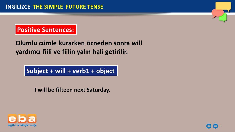 4 Olumsuz cümle kurarken önce özne sonra will not (won't) ve fiilin yalın hali getirilir.