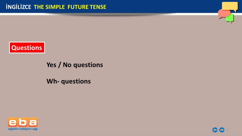 6 Soru cümlelerinde 'will' yardımcı fiili cümlenin başına getirilir sonra özne ve ardından fiilin yalın hali gelir.